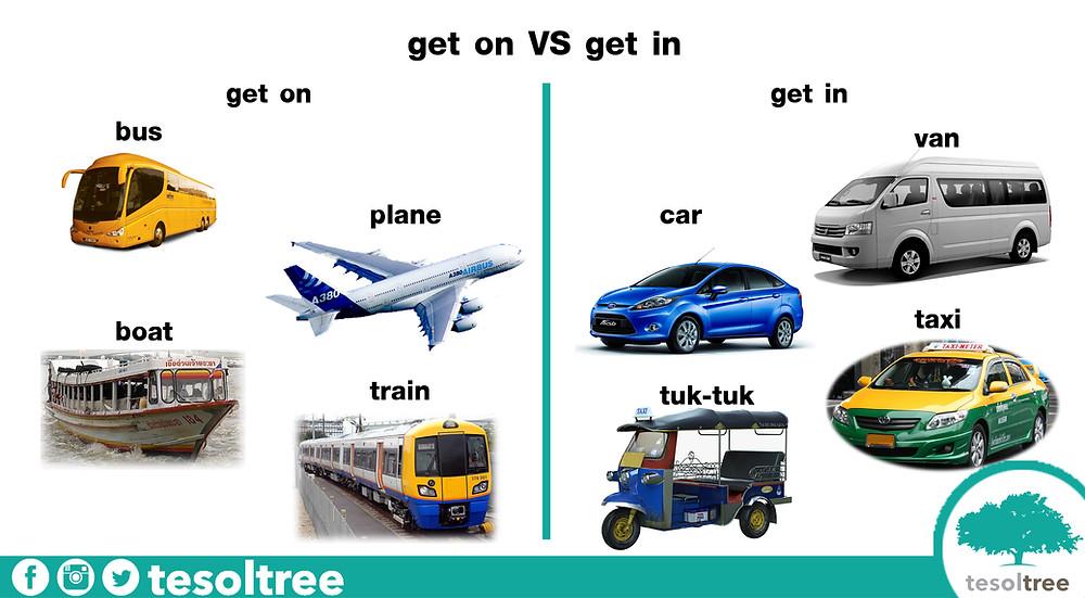 การใช้ get on และ get in กับยานพาหนะประเภทต่างๆ