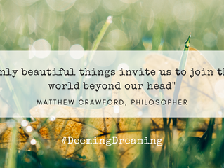 """""""Only Beautiful Things Invite Us to Join a World Beyond Our Head"""" Matthew Crawford, Philosopher"""