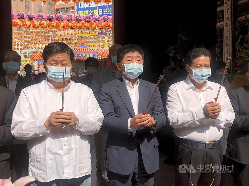 衛福部長陳時中至大甲鎮瀾宮參拜媽祖,圖片來源:中央社