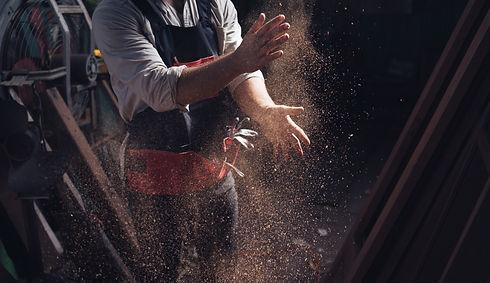 Woodworking carpenter furniture hand cuting.Man factory industry manufacturer, working wor