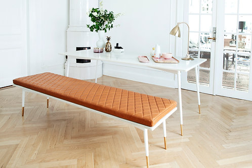 SET - Dining Table/Bench WHITE/COGNAC