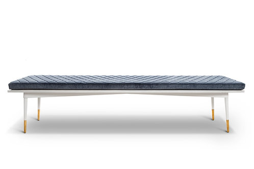 Blue Velour/White Bench