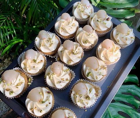 Pistachio Lychee Rose Cupcakes