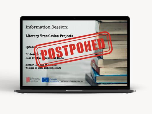 Literary Translations Info Session Postponed