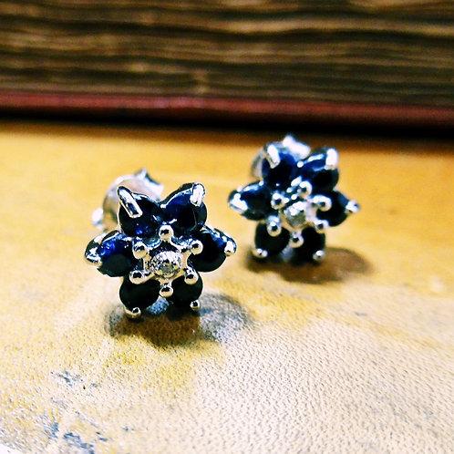 Silver, Sapphire & Diamond Earrings
