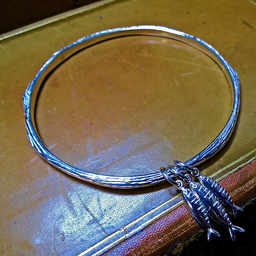 """Little Fishes"" Silver Bangle"