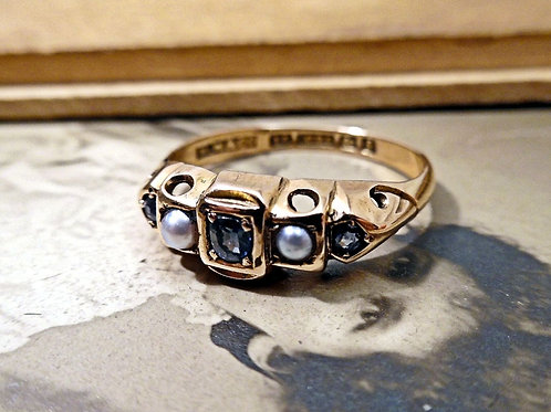 Antique 15ct Gold, Sapphire & Pearl Ring