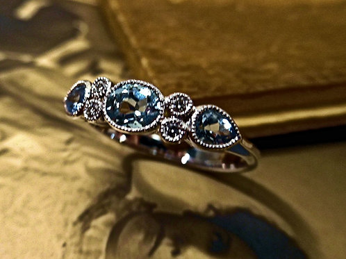 White Gold, Aquamarine & Diamond Ring