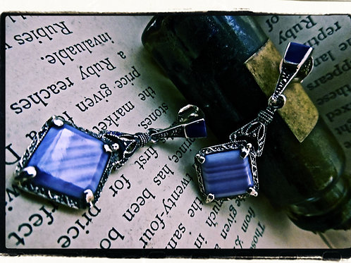 Silver, Marcasite & Agate Earrings