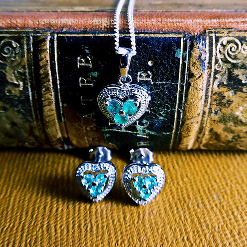 Silver, Emerald & Diamond Jewellery Set