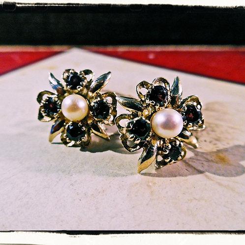 Vintage Gold, Garnet & Pearl Earrings