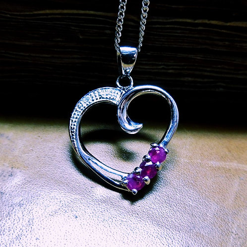Silver. Ruby & Diamond Necklace