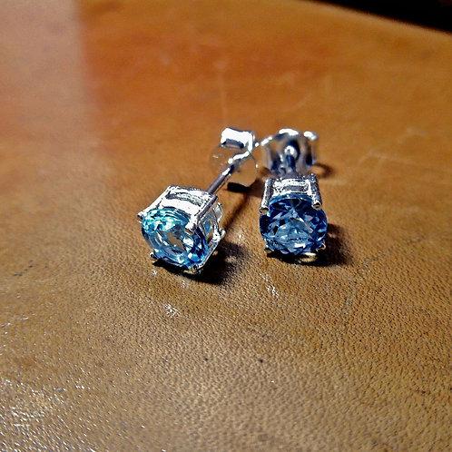 Silver & Blue Topaz Stud Earrings