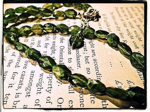 Silver & Vessonite Bead Necklace