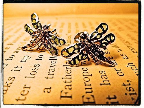 Silver & Enamel Dragonfly Earrings