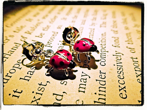 Silver & Enamel Ladybird Earrings