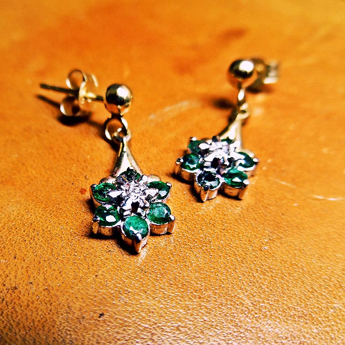 Gold, Emerald & Diamond Earrings.