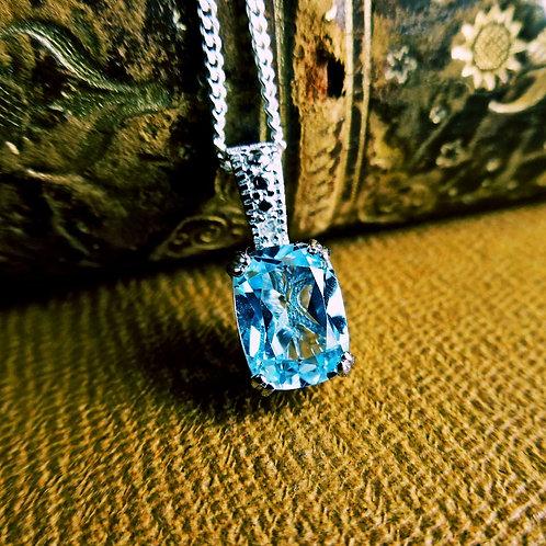 Silver, Topaz & Diamond Necklace