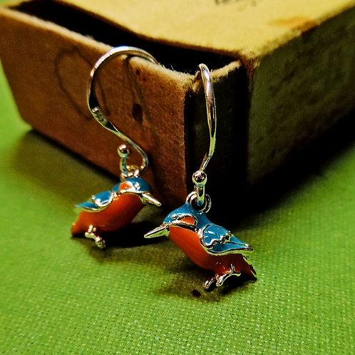 Silver Kingfisher Earrings