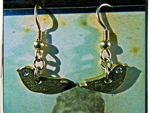 Gold & Diamond Bird Earrings