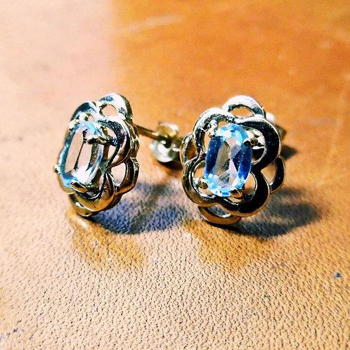 Gold & Blue Topaz Earrings