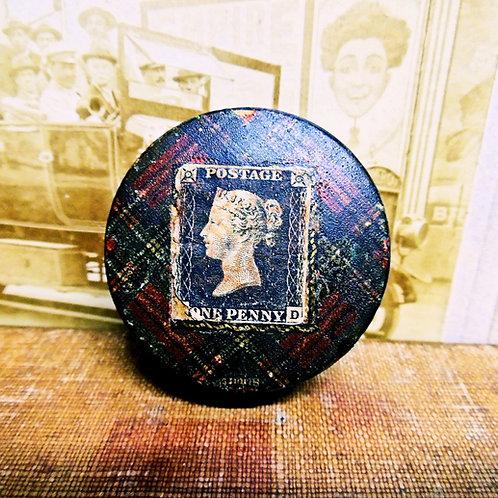Victorian Tartan Ware Stamp Box