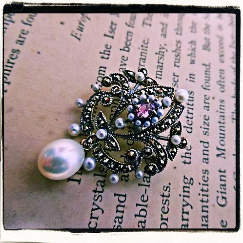 Silver, Topaz, Pearl & Marcasite Brooch Or Pendant