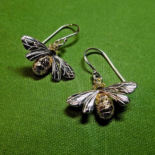 """Silver """"Queen Bee"""" Earrings"""