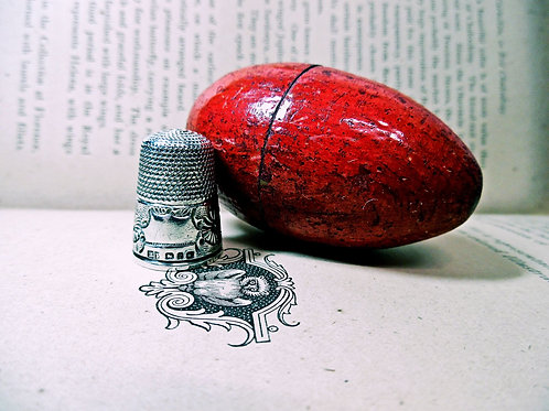 Victorian Silver Thimble & Wooden Egg Thimble Holder