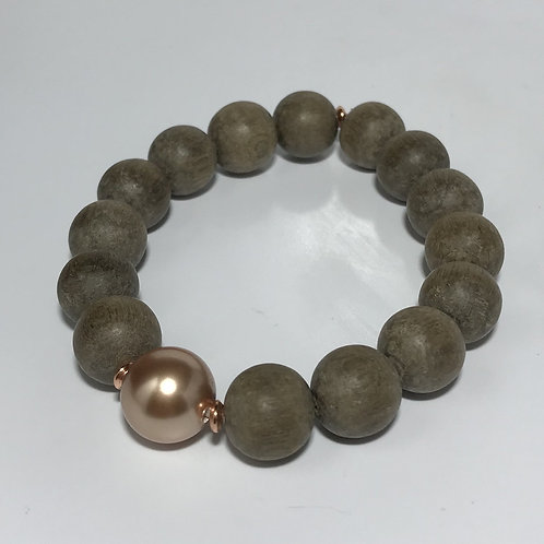 Pearl and Wooden Bead Bracelet