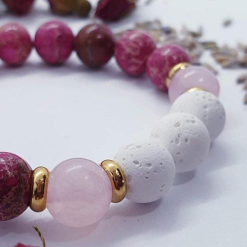 Pink Sea Sediment Jasper & Rose Quartz Diffuser Bracelet