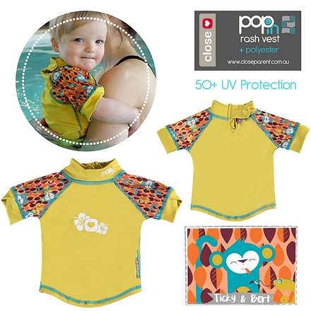 Close pop in baby kids swim rash vest ti