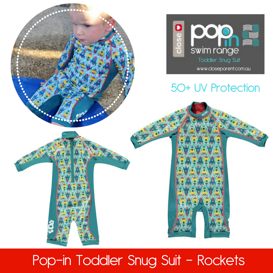 Pop in toddler snug swim suit rockets bo
