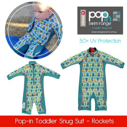 Pop in toddler snug swim suit rockets bo