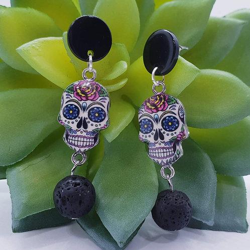 Skull Lava Stone Earrings