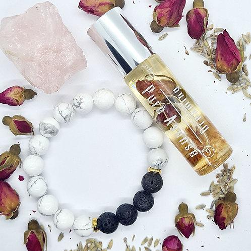 Dreaming Essential Oil Perfume + Howlite & Lava Stone Diffuser Bracelet