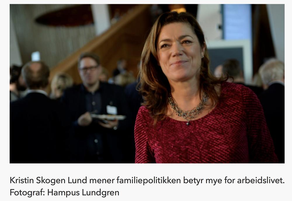 Kristin Skogen Lund, NHO-sjef, om økt likestilling ved økt fedrekvote