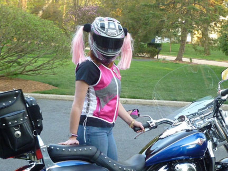 blonde and piink helmet pigtails