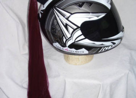 "Burgundy Helmet Ponytail 24"""