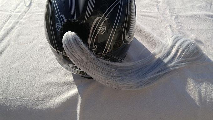 """Grey Helmet Ponytail 24"""""""