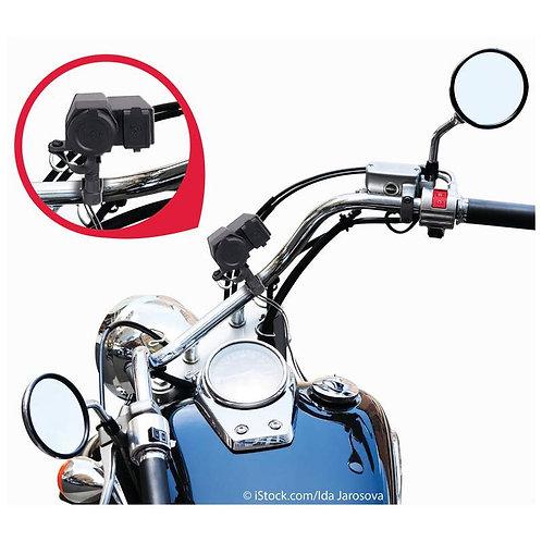 Diamond Plate™ Handlebar Mount 5V USB/12V Lighter Adapter