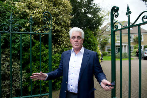 Pictures of PR Guru Max Clifford arriving at his home in Hersham, Surrey after being found guilty of 8 counts of indecent assault.