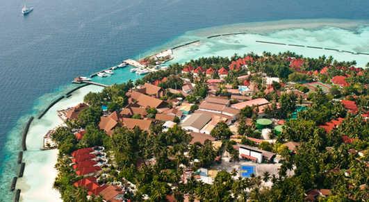 Aerial Views of Kurumba resort in the Maldives.