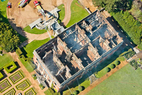 Clandon House gutted - Firefighters tackling the multi-million pounds blaze at 18th century National Trust mansion Clandon House pulled priceless antiques from the first floor of the burning building and sent them down ladders in a bid to save the irreplaceable antiques. Eye-witnesses today (Thurs) said that fire crews valiantly entered the fully-ablaze building to pluck paintings and furniture from the devastating inferno which destroyed 100 per cent of the interior of the building.