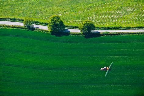 Aerial view of farm fields in Oxfordshire.