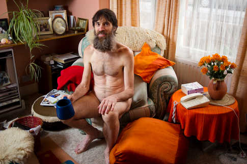 """Stephen Peter Gough, popularly known as the """"Naked Rambler"""", photographed at his home in Eastleigh, Hampshire."""