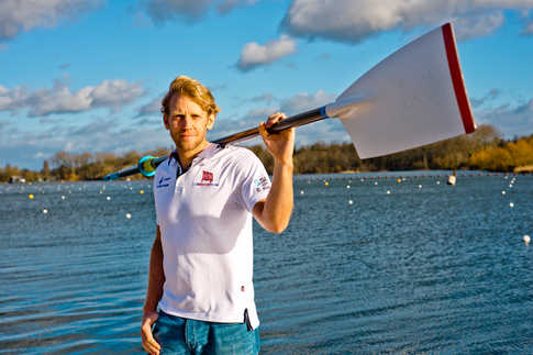 British rower and a triple Olympic Gold Medallist and quadruple World Champion Andrew Triggs Hodge photographed at Team GB rowing training centre in Caversham, Berks.