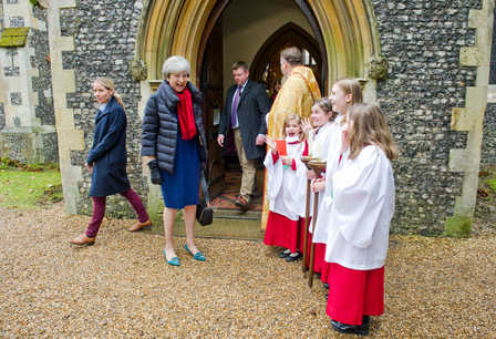 Prime Minister Theresa May attends Christmas day mass in Sonning, Berks.