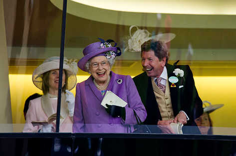 Picture shows The Queen celebrating one of her horses winning a race at Royal Ascot
