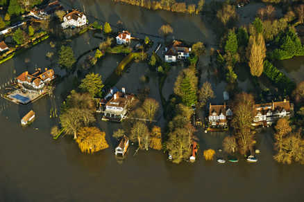 This was the scene in Cookham, Berkshire after the River Thames burst its banks and flooded homes and gardens.